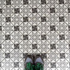 Shades of grey in this classic tile #pattern that we spotted in #Singapore  #TileAddiction