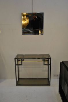 Chrome and Gold-Plated Console Table and Mirror by Belgo Chrom, 1970s image 6