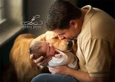 baby and daddy pictures // newborn portraits with dogs and pets // baby and animal pictures that are just too cute Newborn Pictures, Baby Pictures, Newborn Pics, Newborn And Dog, Baby Dogs, Newborn Session, Pet Dogs, Rescue Dogs, Animal Pictures