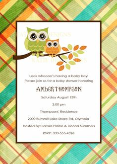 owl baby shower invitations with owl digital by katiedidesigns