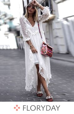 Polka Dot V-Neckline Long Sleeve Maxi Shift Dress - Floryday Shift Dresses, White Maxi Dresses, White Dress, Summer Dresses, White Tulle, Summer Outfits, Dresses Dresses, Ladies Dresses, Casual Dresses