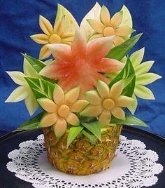 carved fruit flowers