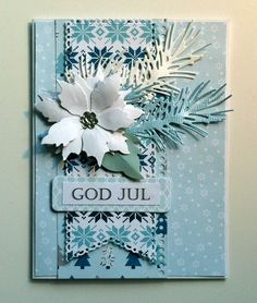 "Christmas poinsettia card - , Memorybox poinsettia, IO pine branch die, Cherry Lynn banners, Echo park ""Hello Winter"" paper pad - julekort - Karte Weihnachten - kaarten - JKE design"