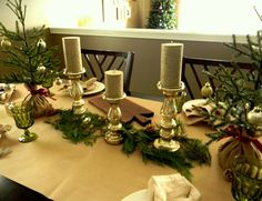 natural Christmas tablescape with mini Christmas trees