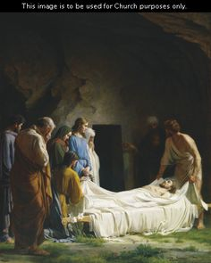 Burial of Jesus (The Burial of Christ), by Carl Heinrich Bloch (62180); GAK 231; GAB 58; Primary manual 1-73; Primary manual 3-74; Primary manual 7-34; Isaiah 53:9; Matthew 27:57–61; John 19:38–42. This image is to be used for Church purposes only.