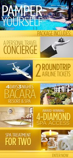 Pacific Ocean breezes, services befitting royalty, and beautiful sunsets along the Santa Barbara coast... IT'S BACARA, BABY!!! One lucky couple will win this getaway for two with a personal travel agent to arrange it all! Value - over five thousand dollars!!!! #giveaway