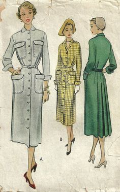 McCall 8243 Vintage 50s Sewing Pattern Dress by studioGpatterns, $8.50