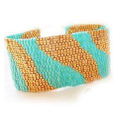Turquoise Blue and Gold Glass Beads Bracelet - Egyptian DreamsBeadwork Bracelet - Gold Blue Wide Cuff Bracelet