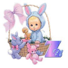 Alfabeto de nenita disfrazada de conejita de Pascua. | Oh my Alfabetos!