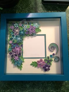 Quilled shadow box frame by Ginny Huff Paper Quilling Flowers, Quilled Paper Art, Quilling Paper Craft, Paper Crafts, Flower Shadow Box, Flower Frame, Nifty Crafts, Diy And Crafts, Quilling Photo Frames