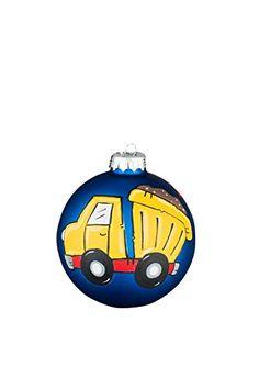 Glory Haus Dump Truck Navy Glass Ball Ornament