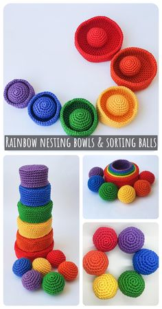 Sorting and learning colors are very important for babies and toddlers. Support your kid's education by making them their toys at home #sortingtoy #stacking toy #sorting bowls #rainbow #nesting bowls #sortingballs #educationaltoy #amigurumi #crochetgift #christmas #crochetchristmas #baby crochet #baby shower #learn colors crochet