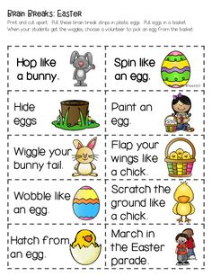 Brain Breaks with an Easter Twist plus FREE printable.