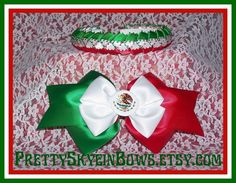 Hey, I found this really awesome Etsy listing at https://www.etsy.com/listing/158608583/mexican-flag-hair-bow-and-braided-ribbon
