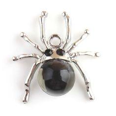12pcs Black Rhinestone Antique Silver Alloy Spider Pendants Jewelry Findings J