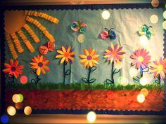 Soy Preescolar: #Ideas para #Decorados Otra hermosa idea para tus trabajos de primavera es este mural con flores, mariposas y un gran sol. Vamos a prepararnos, ya llega el calor y nuevas alegrías. ツ #Amistad #Preescolar; #Manualidades para la #Escuela