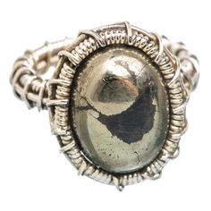Pyrite In Magnetite (healer's Gold) 925 Sterling Silver Ring Size 8 RING763583