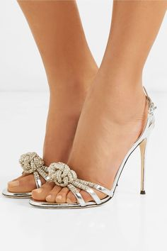 59c8cd8d41d Heel measures approximately 4 inches Silver leather (Cow) Buckle-fastening  slingback strap Made in Italy