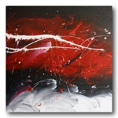Abstract art canvas painting white red black. Wall art paintings