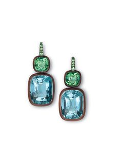 Hemmerle copper, tsavorite garnet, tourmaline, and aquamarine earrings