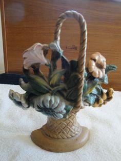 Vintage Cast Iron Flower Basket John Wright Doorstop Original Paint.