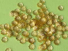 200 Flower Shape Bead Caps 6mm Gold Tone by BusyBeeBumbleBeads