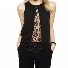 Women Shirt Casual Top Lace Chiffon Patchwork Sexy Brief Basic Office.