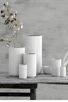 A mix of the original Lyngby Vase collection in white porcelain.