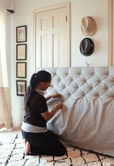 how to make a sophisticated diamond tufted headboard for only bedroom ideas,. how to make a sophisticated diamond tufted headboard for only bedroom ideas, diy, how to, reupholster Furniture Projects, Home Projects, Diy Furniture, Bedroom Furniture, Weekend Projects, Furniture Online, Upcycled Furniture, Repainting Furniture, Garden Furniture