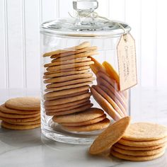 Crisp Sugar Cookies Recipe- Recipes My grandmother always had sugar cookies in her pantry, and I now regularly bake these wonderful cookies to share with friends. We grandchildren would empty that big jar quickly because those cookies were the best! Secret Cookie Recipe, Cookie Crisp, Thin Cookie Recipe, Cookie Desserts, Cookie Recipes, Dessert Recipes, Cookie Favors, Coconut Cookies, Gastronomia