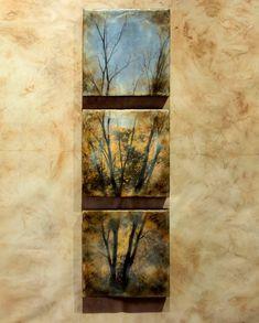 Encaustic photography - Tree Triptych, original encaustic art, mixed media
