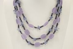 Iolite Necklace in three strand with sterling silver closure.