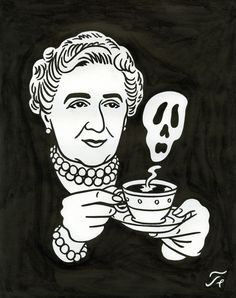 """Agatha Christie - Dessin pour la couverture du Magazine """"Lire""""    Floc'h - Print out and frame for mantle.."""