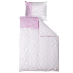 Bettwäsche rosa mit weißen Sternen  - Maße: 135 x 200 cm und 80 x 80 cm  - Material: 100 % Baumwolle  - Maschinenwaschbar bis 30° C