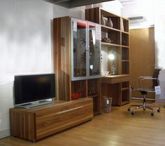 Hülsta 'Mega-Design' composition with TV unit & desk in walnut veneer Was £6555.00 now £2995.00 Delivery and Installation - additional cost