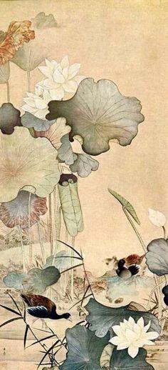 KAWABATA Gyokusho(川端 玉章 1842-1913) 荷花水禽図(Lotus and Waterfowls