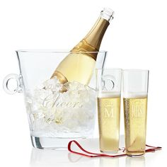 Classic Handblown Ice Bucket with Handles, Clear Glass - MonogrammedMonogrammed Tableware - Customized Glassware - Personalized Place Settings Stemless Champagne Flutes, Champagne Buckets, Personalized Christmas Gifts, Personalized Wedding Gifts, Make Your Own Wine, Wine Bucket, Mark And Graham, Hand Blown Glass, Decoration