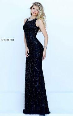 Sherri Hill 50283 Scoop Neckline 2016 Sleeveless Beaded Patterned Black Long Evening Dresses