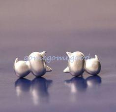 925-Sterling-Silver-Korea-Chic-3D-Cat-Kitten-Lady-Party-Earrings-Jewelry-Well