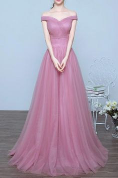 A-line Prom Dresses, Lilac Prom Dresses, Long Prom Dresses With Pleated Sleeveless Off-the-Shoulder WF01G49-771