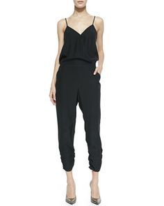 Liv Cross-Front Ruched Silk Jumpsuit, Black by Parker at Neiman Marcus. $297