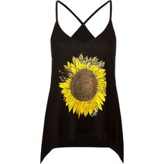 O'NEILL Sunflower Womens Tank ($20) ❤ liked on Polyvore featuring tops, tank tops, shirts, tanks, black, graphic tank tops, torn shirt, racer back tank top, black racerback tank top and graphic shirts