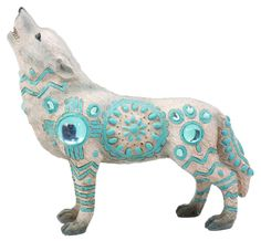 "Turquoise Heavens Native Tribal Howling Snow Wolf Totem Spirit Figurine 6.25""L  