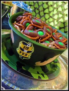 Camo party food...I like the  use of th  helmet for the bowl