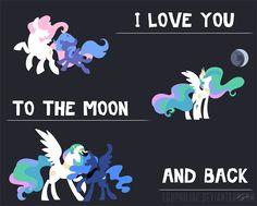 "Celestia and Luna ""I love you to the moon and back"""