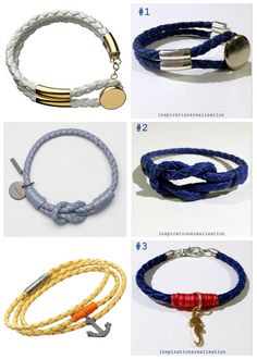 DIY Three Knockoff Braided Nappa Leather Cord Bracelets' Tutorials from inspiration & realisation here.All three bracelets are made with round braided nappa leather cord