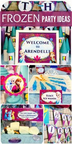 A beautiful Frozen girl birthday party with rock candy wands, castles, candy and cupcakes!  See more party ideas at CatchMyParty.com!