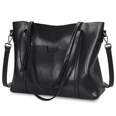Amazon.com: S-ZONE Women Genuine Leather Top Handle Satchel Daily Work Tote Shoulder Bag Large Capacity (Black): Clothing