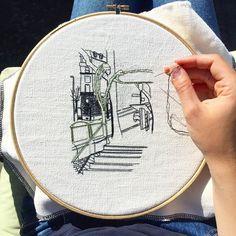 Work in progress! .  .  .  #embroideryartist #parisart #paris #embroiderydesign #artistsonig #handmade #handembroidery #handmadeembroidery #embroidery #embroideryart #em_hm #patternvilla #fubiz #craftart #fiberart #textileart #bordado #broderie #threadpainting #threadart #threadartist #needlework #stitching #wip #wipart #embroideryinstaguild