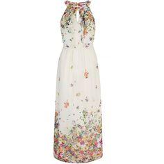 Uttam Boutique Floral Print Halterneck Maxi Dress ($94) ❤ liked on Polyvore featuring dresses, cream, women, white floral dress, white halter top, halter top maxi dress, white sleeveless dress und white dress